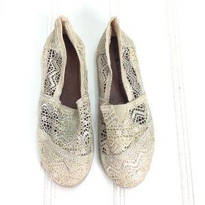 Vanity Cream Lace Crochet Ballet Flats Slip Ons 6